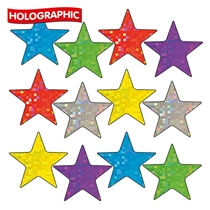 Holographic Star Stickers for Christmas Cards/Decorations - Mixed Colours (140 Stickers - 18mm)