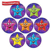 Holographic Stars Stickers - Various Colours (35 Stickers - 20mm)