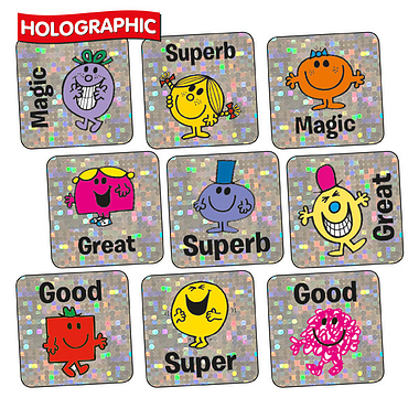 Holographic Stickers - Mr Men & Little Miss (140 Stickers - 16mm)