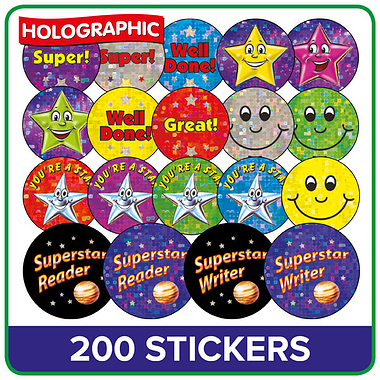 Holographic Stickers Value Pack (200 Stickers)