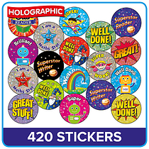 560 X Metallic Positive Words Stickers School Reward Award Value Pack 25MM