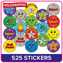 Holographic Stickers Value Pack (525 Stickers - 20mm)
