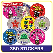 Holographic Stickers Value Pack - Maths (350 Stickers - 25mm)