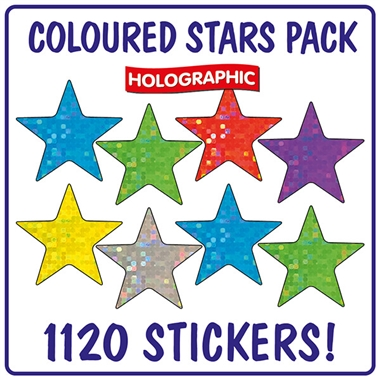 Holographic Stickers Value Pack - Stars (1120 Stickers - 18mm)