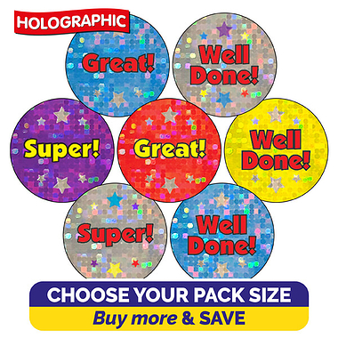 Holographic Stickers Wording (20mm)