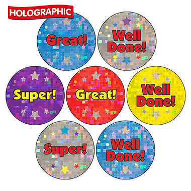 Holographic Stickers - Words  (35 Stickers - 20mm)