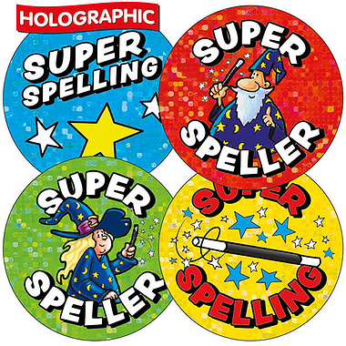 Holographic Super Speller Wizard Stickers (35 Stickers - 37mm)