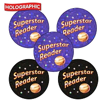 Holographic Superstar Reader Stickers (30 Stickers - 25mm)