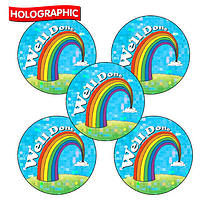 Holographic Well Done Stickers - Rainbow (30 Stickers - 25mm)