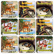 Homework Stickers - Jungle (35 Stickers - 20mm)