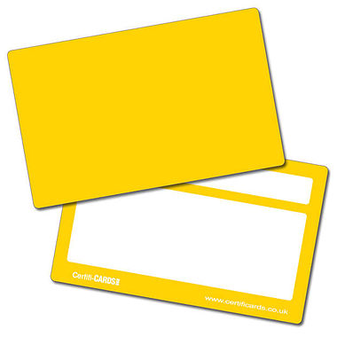 House Colour Yellow Plastic CertifiCARDS (10 Cards - 86mm x 54mm)
