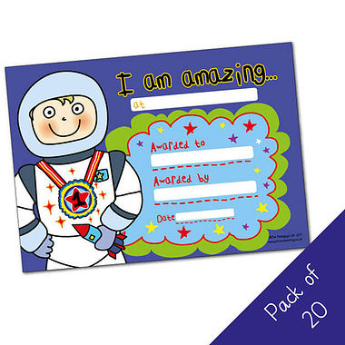I am Amazing Certificates - Pedagogs Astronaut (20 Certificates - A5)