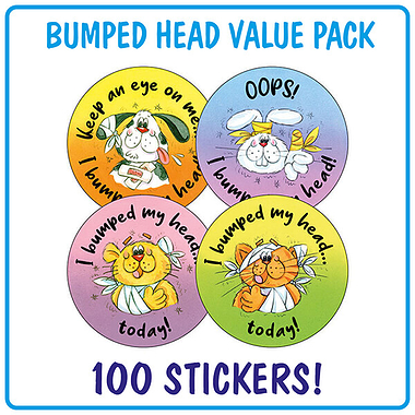 I Bumped My Head Stickers (100 Stickers - 32mm) Brainwaves