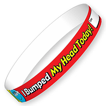 I Bumped My Head Today Glossy Wristbands (10 Wristbands - 220mm x 13mm) Brainwaves