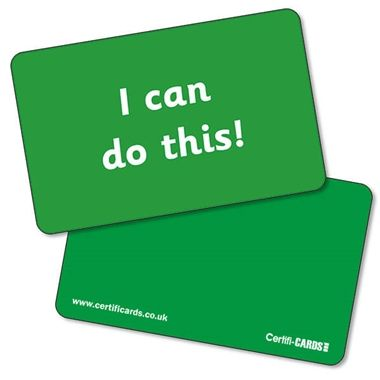 'I can do this' CertifiCARDS - Green (10 Wallet Sized Cards)