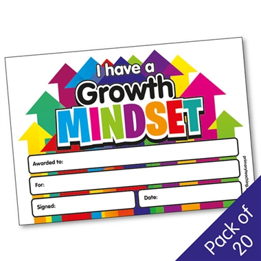 I have a Growth Mindset Certificates (20 Certificates - A5)