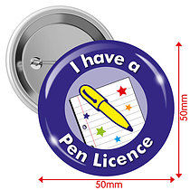 I have a Pen Licence Badges - Blue (10 Badges - 50mm)
