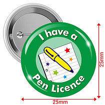 I have a Pen Licence Badges - Green (10 Badges - 25mm)