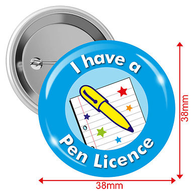 I have a Pen Licence Badges - Light Blue (10 Badges - 38mm)