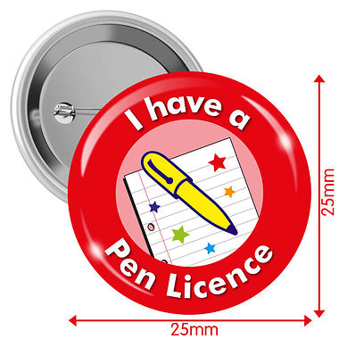 I have a Pen Licence Badges - Red (10 Badges - 25mm)