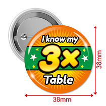 I know my 3x Times Tables Badges (10 Badges - 38mm)