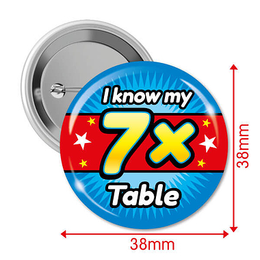 I know my 7x Times Tables Badges (10 Badges - 38mm)