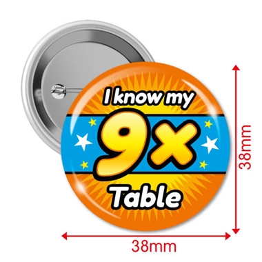 I know my 9x Times Tables Badges (10 Badges - 38mm)