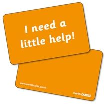 'I need a little help' CertifiCARDS - Orange (10 Wallet Sized Cards)