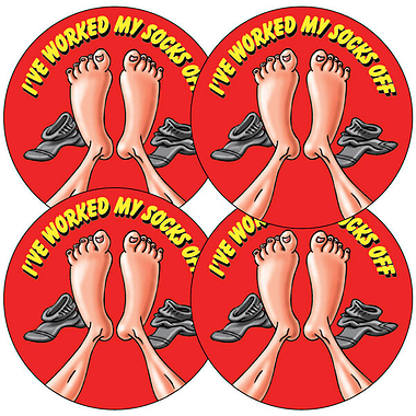 I Worked My Socks Off Stickers (35 Stickers - 37mm)