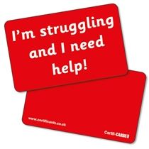 'I'm struggling and I need help' CertifiCARDS - Red (10 Wallet Sized Cards)