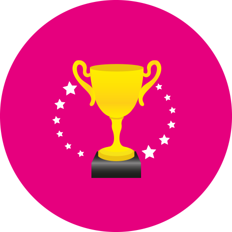 pink trophy stickers sheet of 35 personalised 37mm