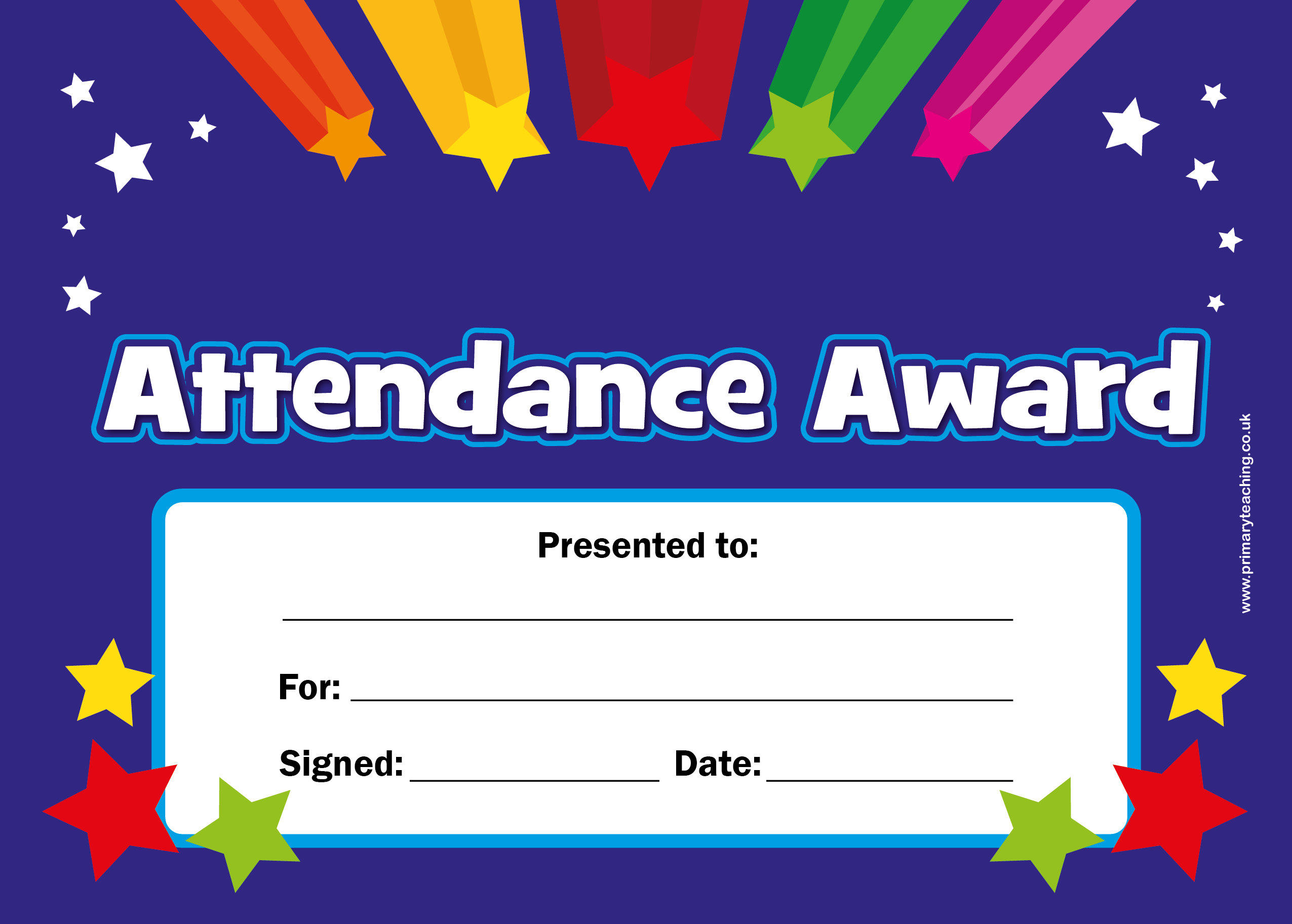 Customised attendance award certificate a5