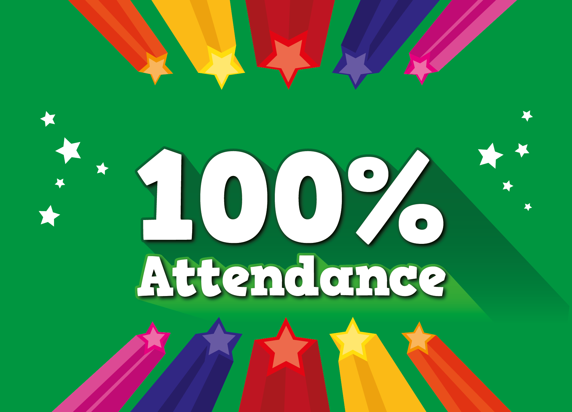 Personalised 100 attendance postcard a6