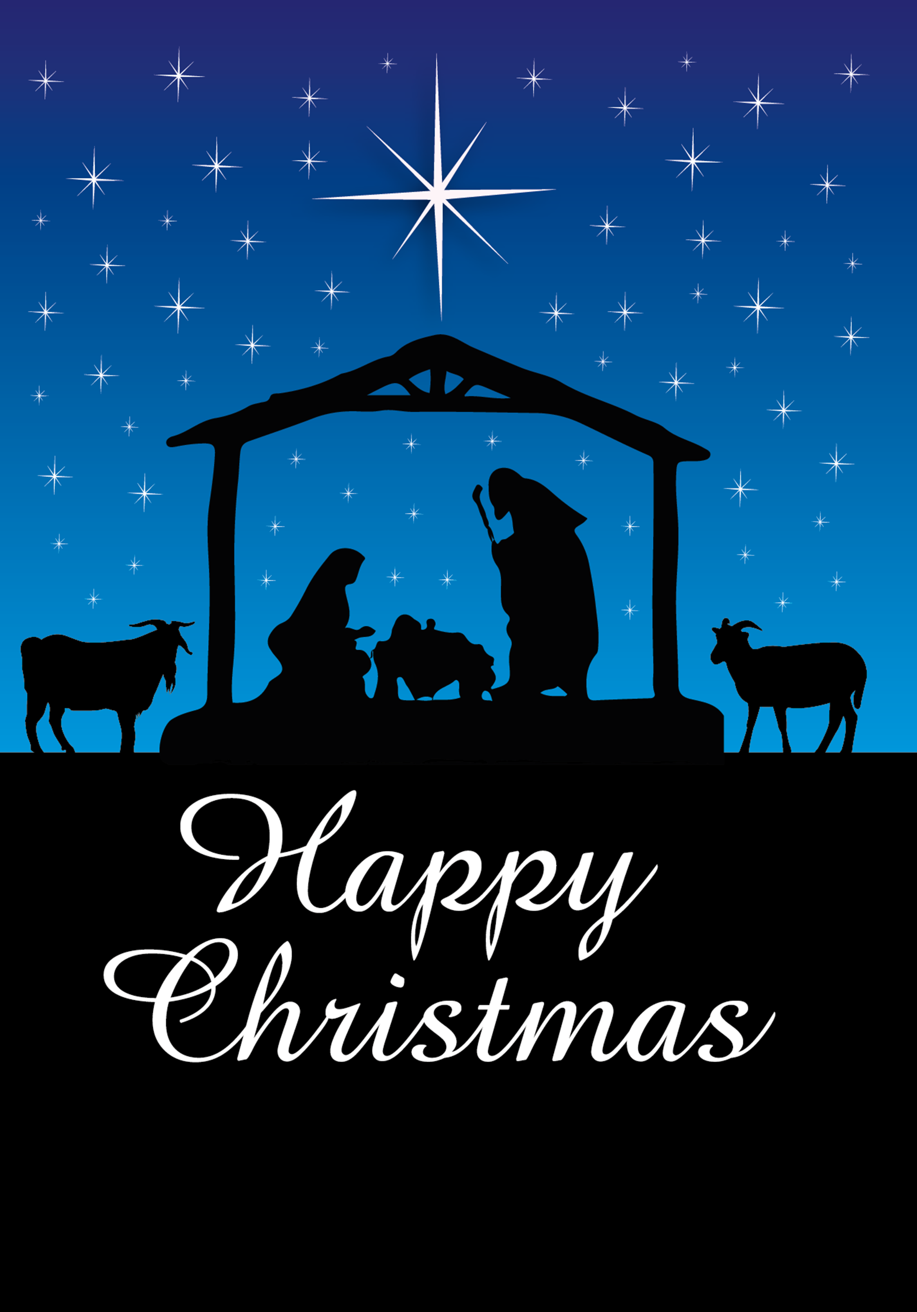 Customised Night Time Nativity Christmas Cards | A5