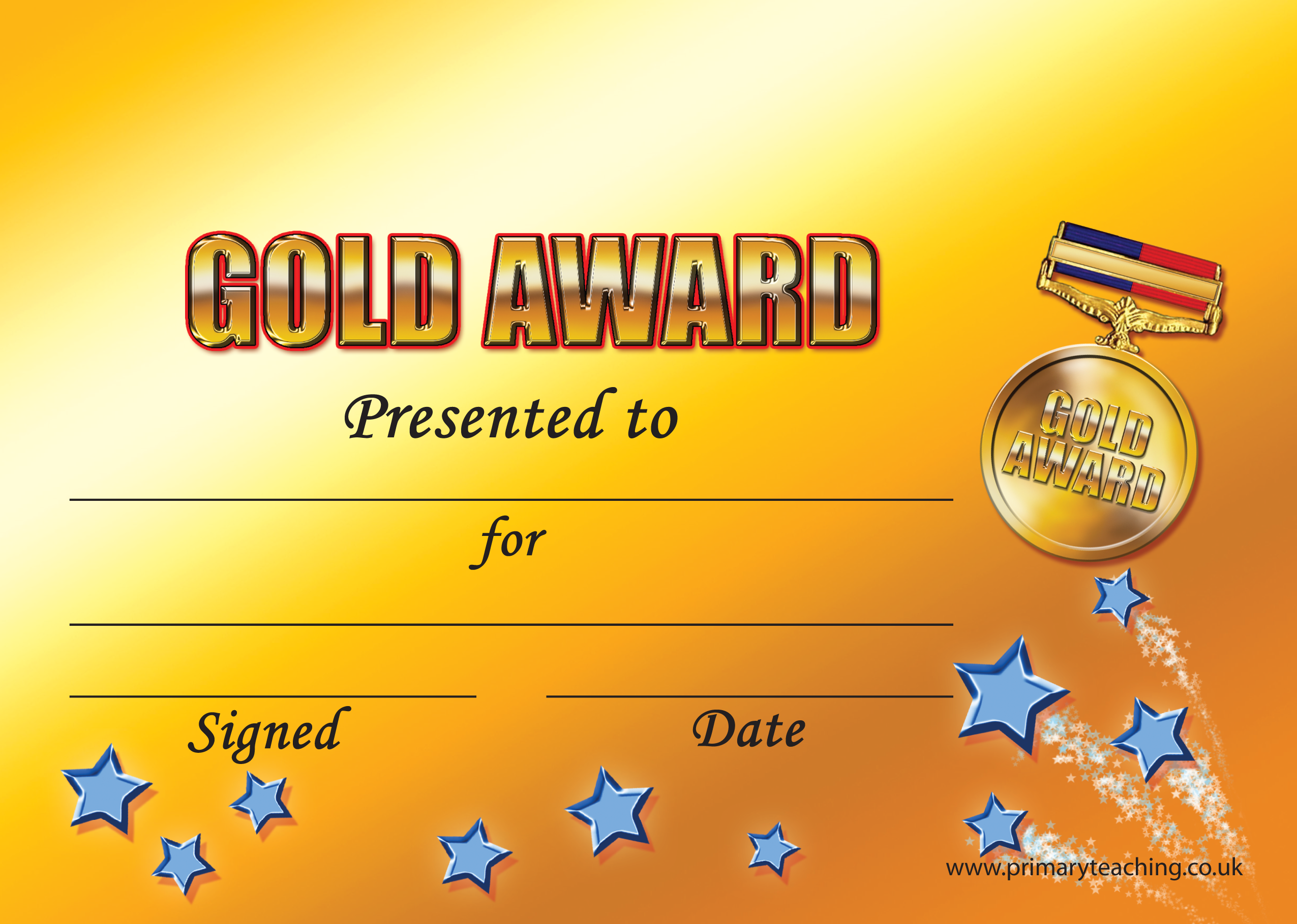customised gold award certificate a5 pupil rewards