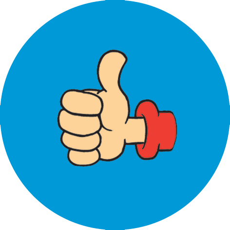 Sheet of 35 personalised 37mm thumbs up blue stickers