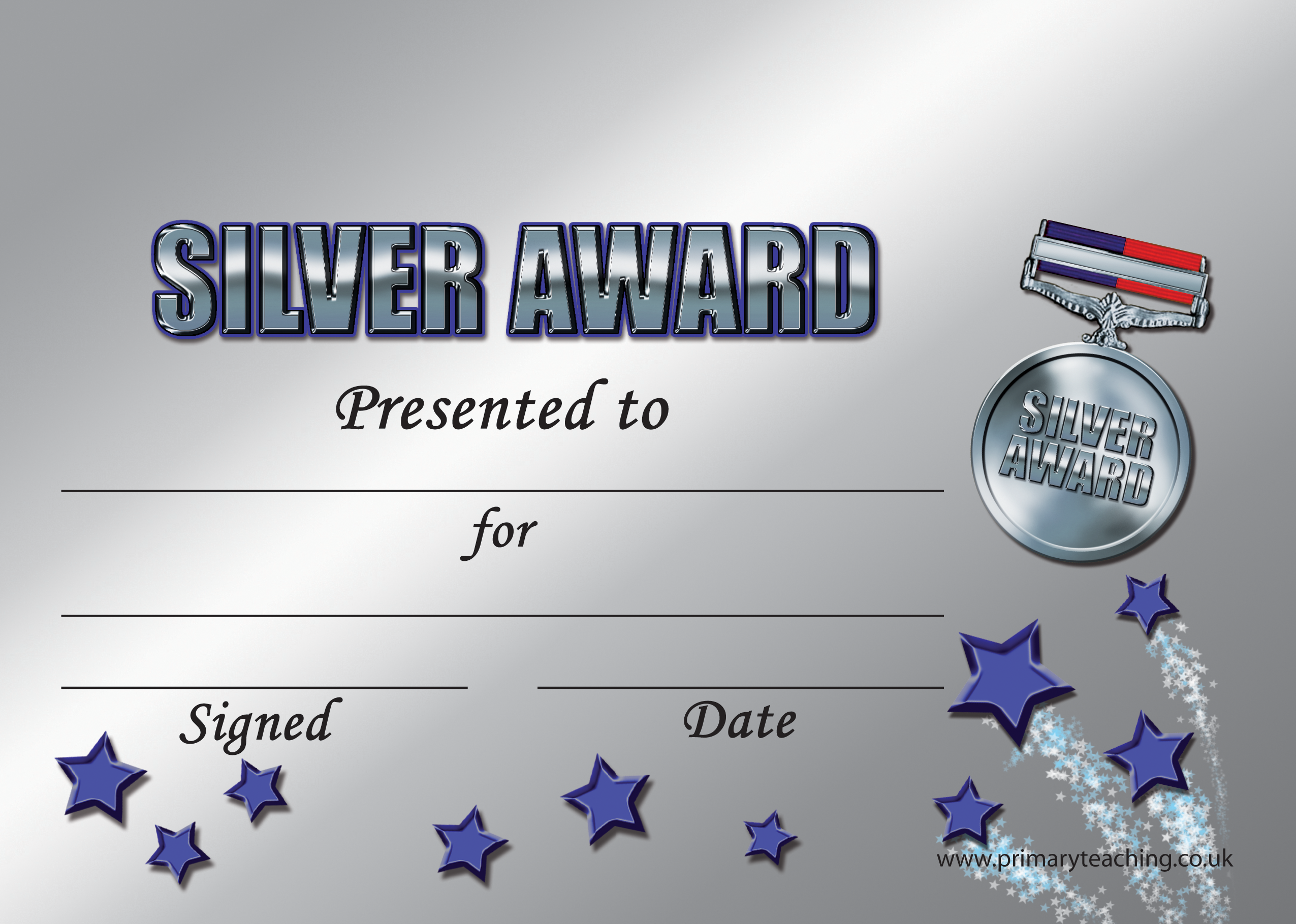 Personalised A5 Silver Award Certificates - S5C8