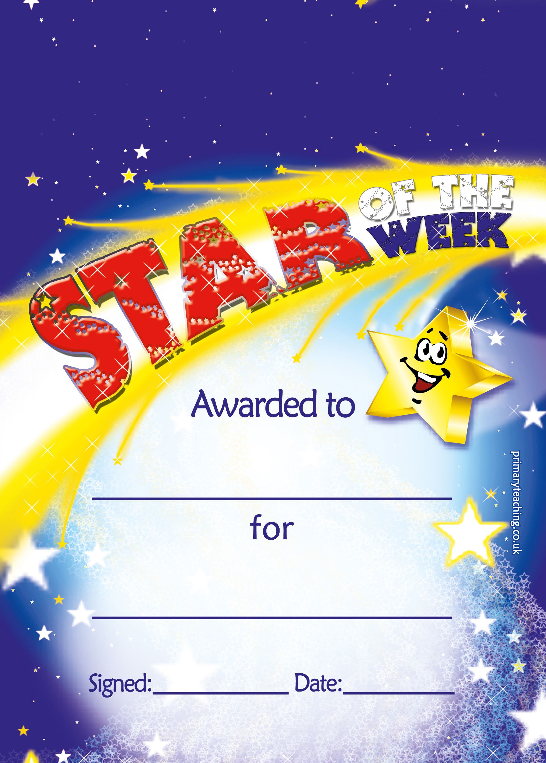 Personalised A5 Star of the Week Certificates - SW8: https://www.primaryteaching.co.uk/Products/SW8/personalised-a5-star...