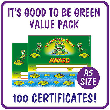 It's Good to be Green Certificates Value Pack (100 Certificates - A5)