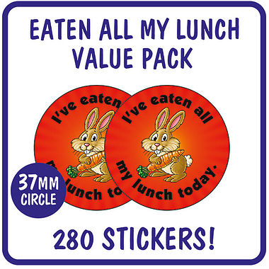 I've Eaten All My Lunch Today Stickers Value Pack (280 Stickers - 37mm)