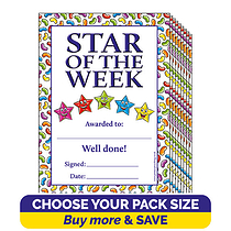 Jellybean Scented Star of the Week Certificates (A5)