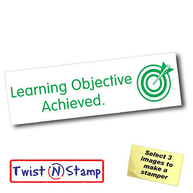 Learning Objective Achieved Target Twist & Stamp Stamper Brick (38mm x 15mm)