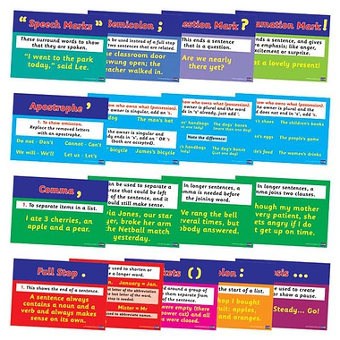 Literacy Punctuation Posters (17 Card Posters - A4)