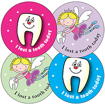 Lost a Tooth Stickers (35 Stickers - 37mm)