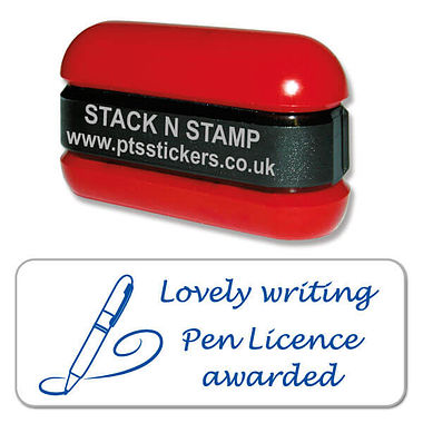 Lovely Writing Pen Licence Awarded Stack & Stamp - Blue Ink (38mm x 15mm)