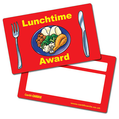 Lunchtime Award CertifiCARDS (10 Cards - 86mm x 54mm)