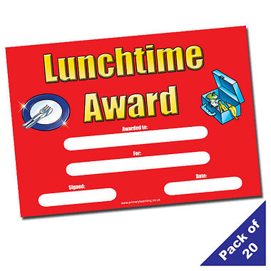 Lunchtime Award Certificates (20 Certificates - A5)
