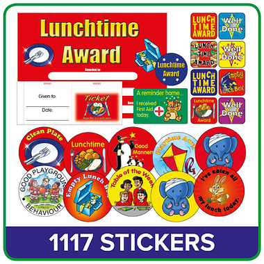 Lunchtime Value Pack (1117 Stickers - 100 Raffle Tickets - 20 Certificates)