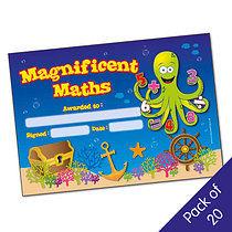 Magnificent Maths Certificates - Octopus (20 Certificates - A5)