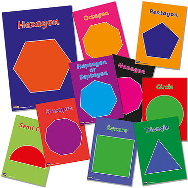 Maths Polygons Card Posters (10 Posters - A4)